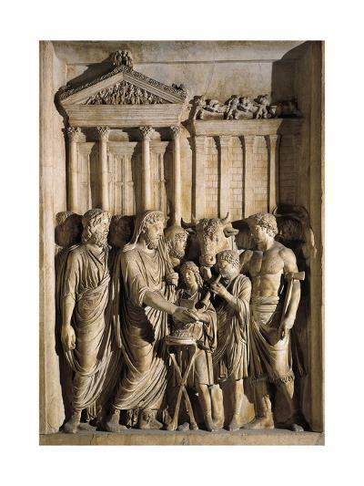 Relief Representing Marcus Aurelius Sacrificing before Temple of Jupiter on Capitol, 176-180 A.D.--Giclee Print