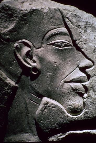 Relief showing the head of Akhenaten, 14th century BC. Artist: Unknown-Unknown-Giclee Print