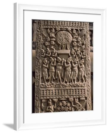 Reliefs of the West Door of the Stupa I in Sanchi--Framed Photographic Print
