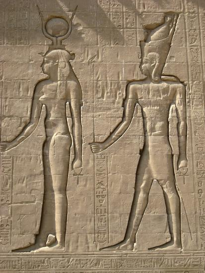 Reliefs on the outer back wall of the temple complex of Edfu, Egypt-Werner Forman-Photographic Print