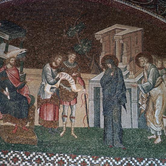 Religious depiction of the taking of the census for taxation, 14th century. Artist: Unknown-Unknown-Giclee Print