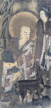 Religious Painting Depicting Young Monk with Doe