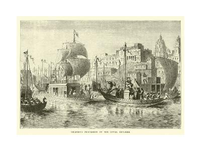 Religious Procession on the River, Benares--Giclee Print