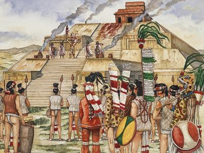 Religious Procession with Sacrifices in Front of Pyramid, Monte Alban, Mexico--Giclee Print