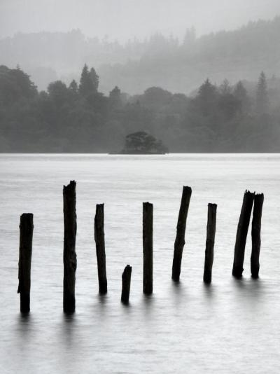 Remains of Jetty in the Mist, Derwentwater, Cumbria, England, UK-Nadia Isakova-Photographic Print