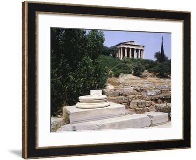 Remains of Metroon with Hephaisteion Temple in Background, Agora in Athens, Greece, 5th Century BC--Framed Giclee Print