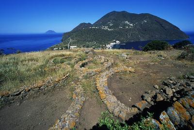 Remains of Oval Huts, Prehistoric Village of Capo Graziano, Aeolian Islands, Sicily, Italy--Giclee Print