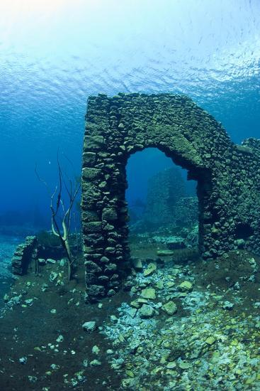 Remains of Submerged Mill, Lago Di Capo D'Acqua, Capestrano, Aquila, Abruzzo, Italy, May 2006-Franco Banfi-Photographic Print