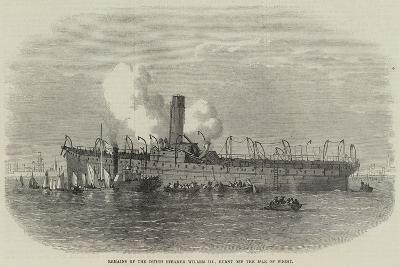 Remains of the Dutch Steamer Willem III, Burnt Off the Isle of Wight--Giclee Print