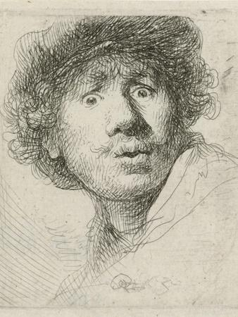 Self-portrait with beret and wide-eyed, 1630