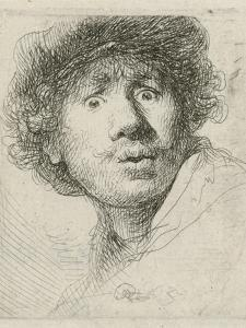 Self-portrait with beret and wide-eyed, 1630 by Rembrandt Harmensz. van Rijn