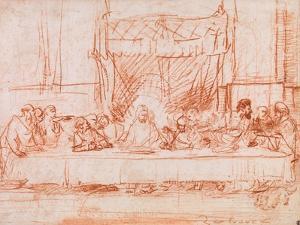 The Last Supper, after Leonardo da Vinci, 1634-35 by Rembrandt Harmensz. van Rijn