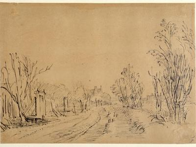 A Main Road Leading to a House Through Trees (Two Bridges and Gate Accesses to the Dijk) (Pen and I by Rembrandt van Rijn