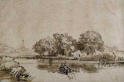 A Man Sculling a Boat on the Bullewijk, with a View Toward Ouderkerk, C.1650 by Rembrandt van Rijn