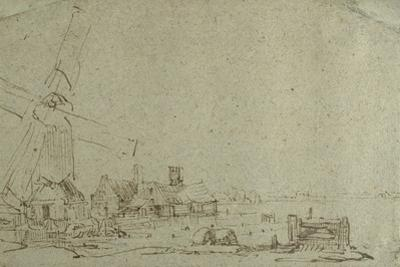 A Windmill and a Group of Houses, C.1652-53 by Rembrandt van Rijn