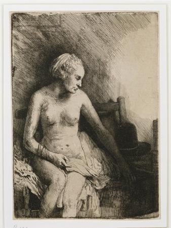 A Woman at the Bath with a Hat Beside Her, 1658 by Rembrandt van Rijn