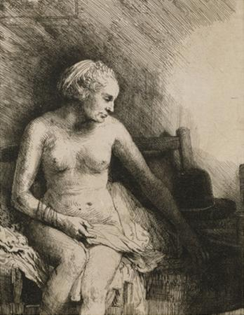 A Woman at the Bath with a Hat Beside Her by Rembrandt van Rijn