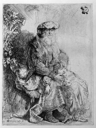 Abraham Holding Young Isaac, C.1637 (Etching) by Rembrandt van Rijn