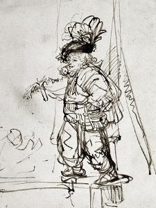 Actor with Parrot, Pen and Brown Ink Drawing by Rembrandt van Rijn