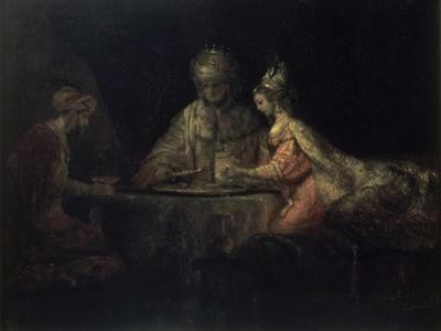 Ahasuerus, Haman and Esther by Rembrandt van Rijn
