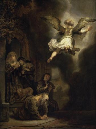 Archangel Raphael Leaving the Family of Tobias by Rembrandt van Rijn