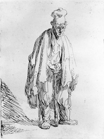 Beggar in a High Cap, C.1630 (Etching) by Rembrandt van Rijn