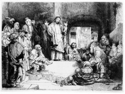 Christ Preaching, C.1652 (Etching) by Rembrandt van Rijn