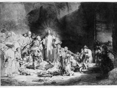 Christ Preaching in a Rocky Landscape, C.1645 (Etching) by Rembrandt van Rijn