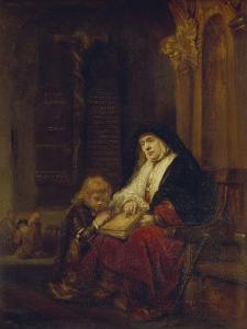 Die Prophetin Hannah Im Tempel, Samuels Gebet Abhoerend, 16(50) by Rembrandt van Rijn