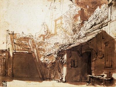 Dutch Peasant House, 17th Century by Rembrandt van Rijn