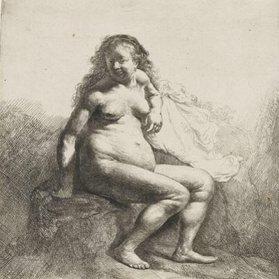 Femme nue assise sur une butte by Rembrandt van Rijn