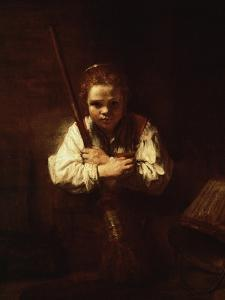 Girl with a Broom, 1640 by Rembrandt van Rijn
