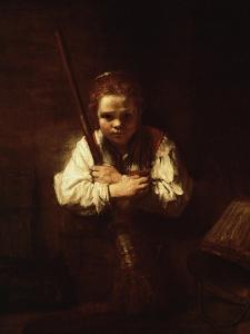Girl with a Broom, 1640 by Rembrandt van Rijn