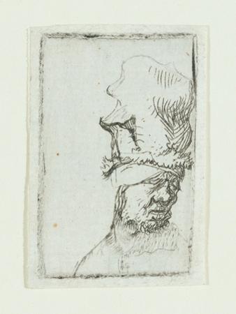 Head of a Man in a High Cap by Rembrandt van Rijn
