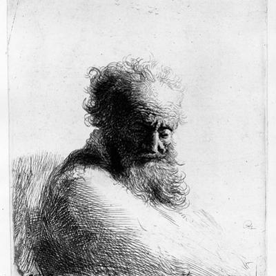 Head of an Old Man, 1631 (Etching) by Rembrandt van Rijn