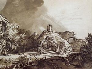 Houses Under a Stormy Sky, Pen and Brown Ink Drawing by Rembrandt van Rijn