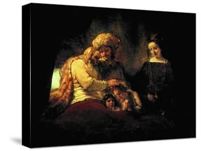 Jacob Blessing His Grandchildren Ephraim and Menasse, Parents Joseph and Anasth by Rembrandt van Rijn