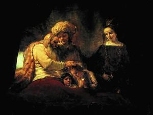 Jacob Blessing His Grandchildren Ephraim and Menasse, Parents Joseph and Anasth by Rembrandt van Rijn