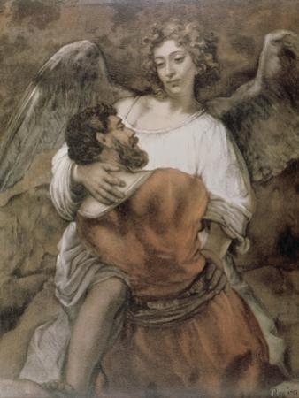Jacob Wrestles with an Angel by Rembrandt van Rijn