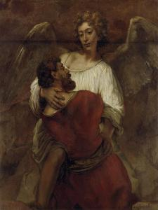 Jacob Wrestling with the Angel, about 1659/60 by Rembrandt van Rijn