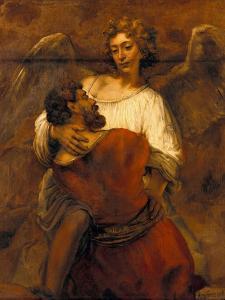 Jacob Wrestling with the Angel, Ca 1659 by Rembrandt van Rijn