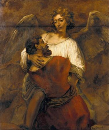 Jacob Wrestling with the Angel by Rembrandt van Rijn