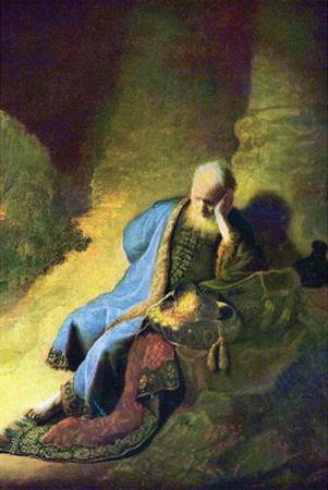 Jeremiah Mourning over the Destruction of Jerusalem by Rembrandt van Rijn