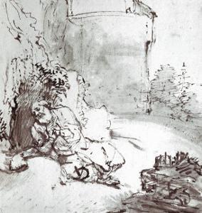 Jonah at the Walls of Niniveh, Mesopotamia, Pen and Brown Ink Drawing by Rembrandt van Rijn
