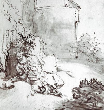Jonah at the Walls of Niniveh, Mesopotamia, Pen and Brown Ink Drawing by Rembrandt van Rijn