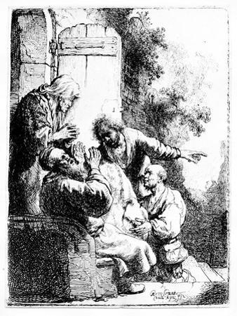 Joseph's Coat Brought to Jacob, C.1633 (Etching) by Rembrandt van Rijn
