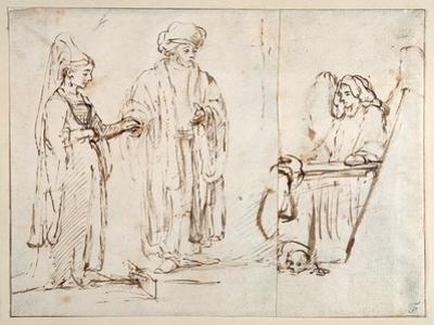 Laban Brings Leah to Jacob by Rembrandt van Rijn