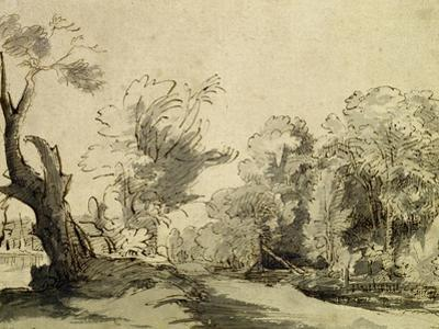 Landscape with a Path, an Almost Dead Tree on the Left and a Footbridge Leading to a Farm by Rembrandt van Rijn