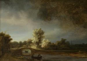Landscape with a Stone Bridge, C.1638 by Rembrandt van Rijn