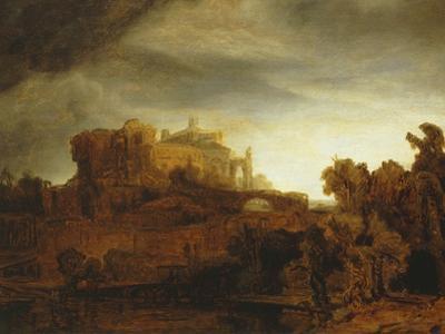 Landscape with Castle, Imaginary View, C.1640-42 by Rembrandt van Rijn